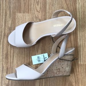 Express Cork Slingback Wedges NWT never worn!